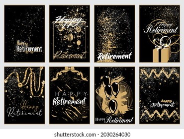 Vector illustration of Happy Retirement posters in black and gold color themes with sparkles and confetti in flat design style
