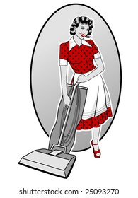 vector illustration of a happy retro housewife pushing a vacuum cleaner