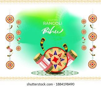 Vector illustration of Happy Rngoli Bihu, Assamese New Year, Indian traditional festival, Harvest festival of Assam, Couple performing Bihu folk dance.