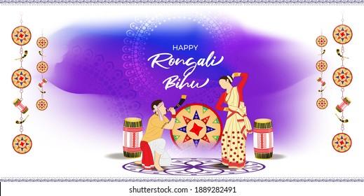 Vector illustration of Happy Rongali Bihu, Assamese New Year, Indian traditional festival, Harvest festival of Assam.