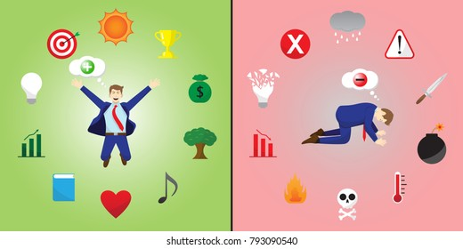 Vector Illustration Happy And Sad Businessman Thinks Positive And Negative Is Encircled By Creativity And Depression Icons Means Optimistic Or Pessimistic Attitude Creates Good Or Bad Things.