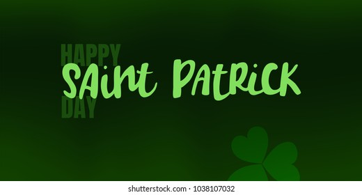 Vector illustration of Happy Saint Patrick's Day logotype. Hand sketched Irish celebration design. Beer festival lettering typography icon. Hand drawn typography badge with shamrock.