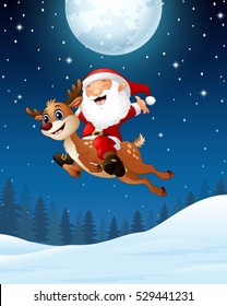 Vector illustration of Happy Santa claus riding a reindeer in the night background