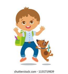 Vector Illustration Of Happy School Boy Go To School. Welcome Back To School. Cute School Boy With Schoolbag Isolated On A White Background.