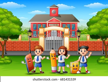 Vector illustration of Happy school children holding stationery in front of school building