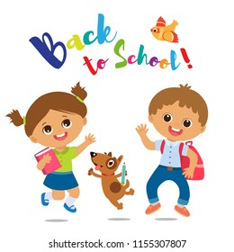 Vector Illustration Of Happy School Kids Go To School. Welcome Back To School. Cute School Boy And Girl With Book And Schoolbag On A White Background.