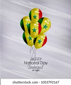 Vector illustration of  Happy Senegal Nationl Day 04 April. Balloons with flags isolated on gray background.