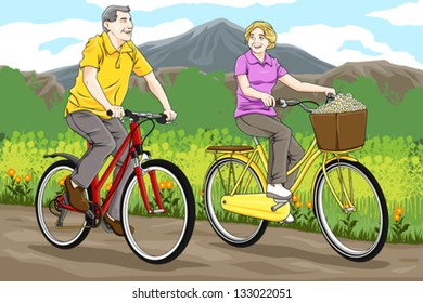 A vector illustration of happy senior couple biking together in the park