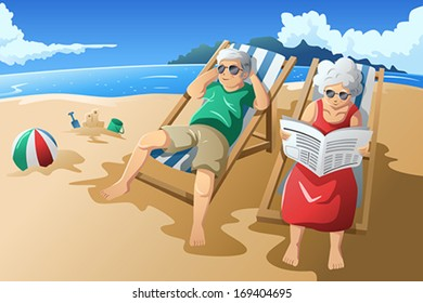 A vector illustration of happy senior couple enjoying their retirement at the beach