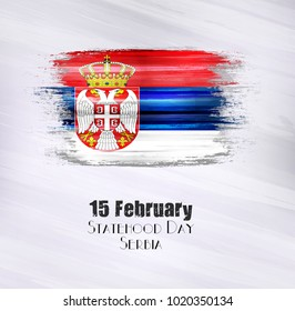 Vector illustration of Happy Serbia Statehood day 15 February. Old grunge flag isolated on gray background.