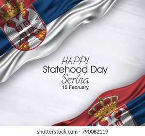 Vector illustration of Happy Serbia Statehood day 15 February. Waving flags isolated on gray background.