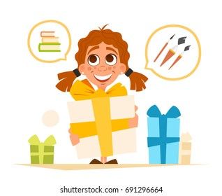 Vector illustration happy smile cute little girl and big gift box