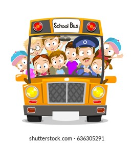 Vector illustration of happy smiling kids riding on a school bus with a driver. Isolated on white background
