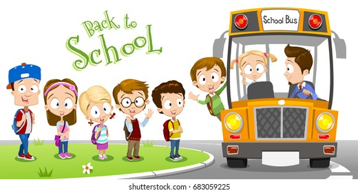 Vector illustration of happy smiling kids boarding a school bus. Different ages children going back to school. Waiting a school bus on a bus stop
