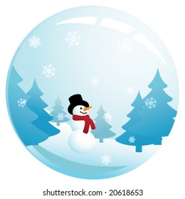 Vector illustration of a happy, smiling snowman in glass sphere with snow falling down.
