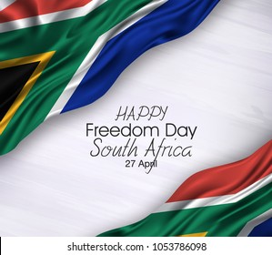 Vector illustration of Happy South Africa Freedom Day 27 April. Waving flags isolated on gray background.