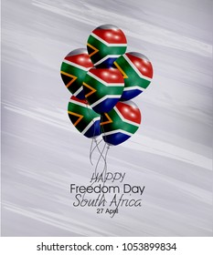 Vector illustration of  Happy South Africa Freedom Day 27 April. Balloons with flags isolated on gray background.