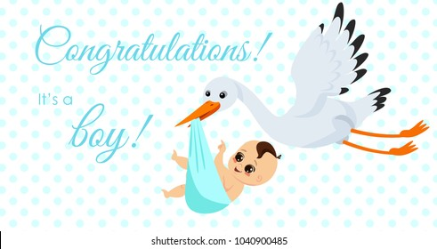 Vector illustration of happy stork carrying cute baby boy in bag. It s a boy Newborn baby concept in cartoon style for greeting card.