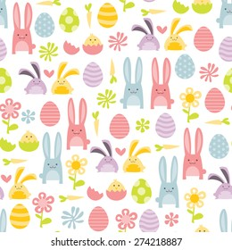 A vector illustration of happy sweet easter filled with easter bunnies and easter eggs seamless pattern background.
