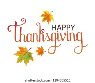 Vector illustration. Happy Thanksgiving Day. Typography vector design. Design template. Colorful autumn leaves. Fall Autumn Harvest.