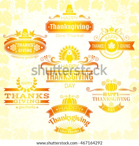 Vector Illustration Happy Thanksgiving Logo Icons Stock Vector
