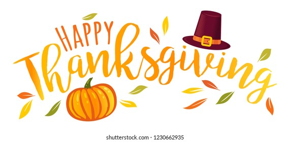Vector illustration of a Happy Thanksgiving text  with pumpkin and hat. Happy Thanksgiving day!