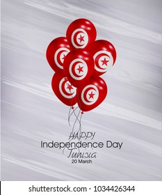 Vector illustration of  Happy Tunisia Independence Day 20 March. Balloons with flags isolated on gray background.
