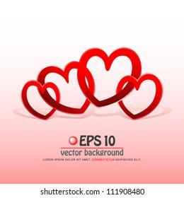 vector illustration of happy valentine heart family