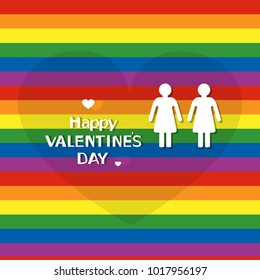 vector illustration of a Happy Valentine's Day on the background of rainbow flag