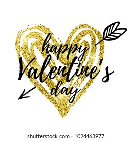 Vector illustration, Happy Valentine's Day text. Golden glitter heart with arrow isolated on a white background.
