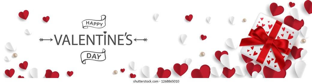 Vector illustration. Happy Valentines Day typography vector design for greeting cards and poster. Valentines Day text with gift box, paper Valentines. Design template celebration.