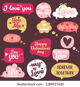 Vector illustration of happy valentines day typography lettering logo set.Valentine's day hand drawn calligraphy and illustration set in speech bubbles.