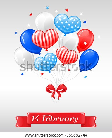 Vector Illustration Happy Valentines Day Usa Stock Vector Royalty