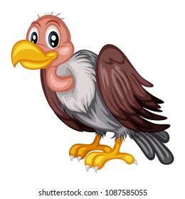 Vector Illustration of a Happy Vulture. Cute Cartoon Vulture Isolated on a White Background. Happy Animals Set