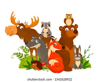 Vector illustration of happy wild animals standing together. Forest friends. Cartoon picture of fox, wolf, raccoon, hare, owl, hedgehog, elk, bear.