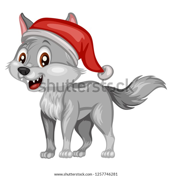 Christmas Wolf.Vector Illustration Happy Wolf Christmas Hat Stock Vector