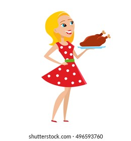 Vector illustration of happy woman isolated on white background. Pretty woman in red dress with white pot. Strong man holding baked turkey.
