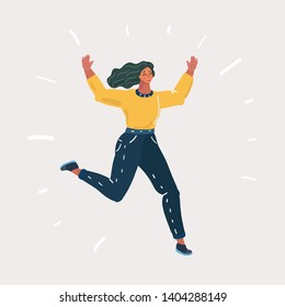 Vector illustration of Happy woman jumping on isolated background.