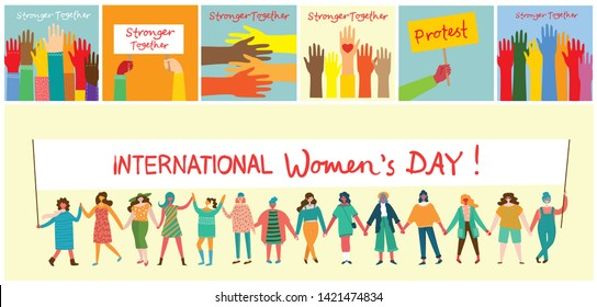 Vector illustration of Happy women holding hands together in the flat style. Concept illustration with colored characters. Stronger together