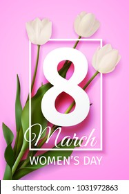 Vector illustration Happy Women's Day March 8 holiday greeting card with a bouquet of white tulips on pink background with frame