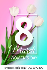 Vector illustration Happy Women's Day March 8 holiday greeting card with a bouquet of white tulips on blue pink background with frame