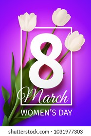 Vector illustration Happy Women's Day March 8 holiday greeting card with a bouquet of white tulips on pink purple  background with frame