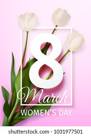 Vector illustration Happy Women's Day March 8 holiday greeting card with a bouquet of white tulips on light pink background with frame
