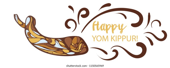 Vector illustration of Happy Yom Kippur background with shofar
