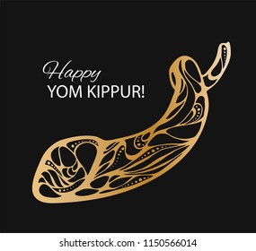 Vector illustration of Happy Yom Kippur background with shofar. Gold on black background