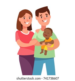 Vector illustration happy young couple with foster baby. Portrait of a father, mother and adoption african kid in cartoon style. Multiracial family