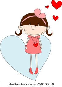 Vector Illustration of Happy Young Girl wearing pink dress on heart shape background