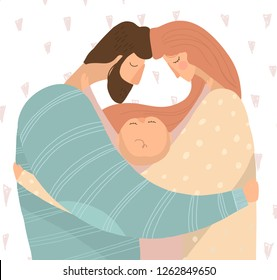 vector illustration of happy young parents hugging their baby