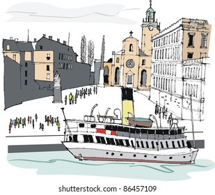 Vector illustration of harbor ferry near the historic architecture of Stockholm Old Town, Sweden.