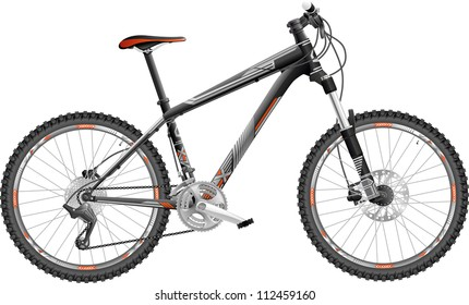 vector illustration of hardtail mountain bike, with design